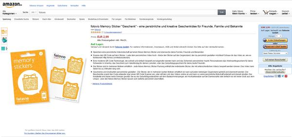 Amazon führt nun fotovio-Memory Sticker und fotovio erweitert die Produktpalette