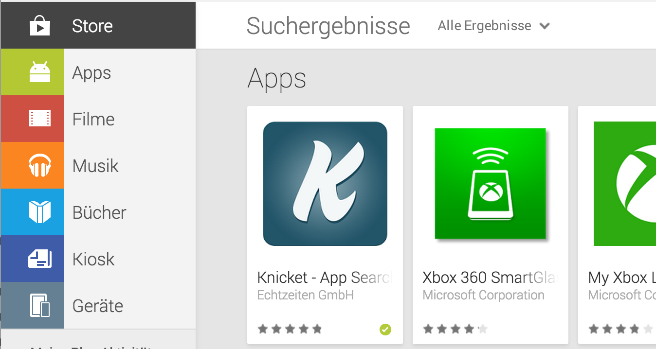 Knicket app available in Google Play Store