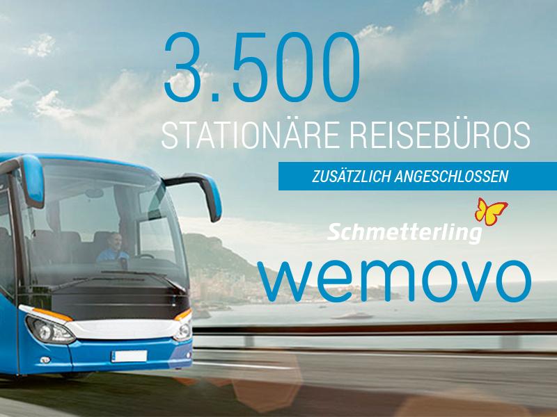 Schmetterling Reisen mit 3.500 Reisebüros kooperiert nun mit WEMOVO!