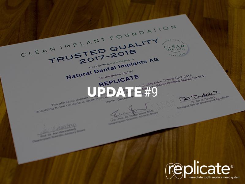 REPLICATE® System erhält Auszeichnung von der Clean Implant Foundation