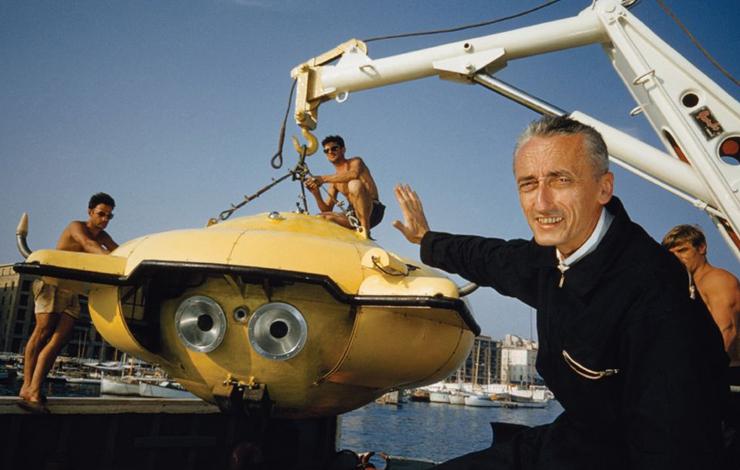 Jacques Cousteau mit seiner tauchenden Untertasse / ©Cousteau Society