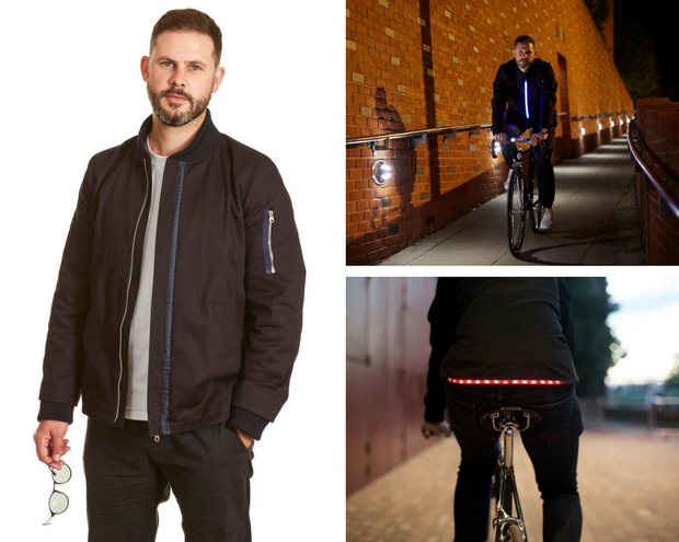 Lumo ist eine Bomberjacke für Fahrradfahrer - mit integriertem Licht