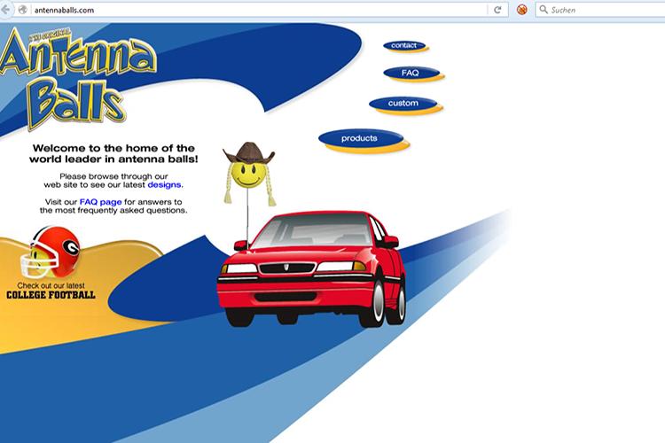 Antenna Balls, Screenshot der Website