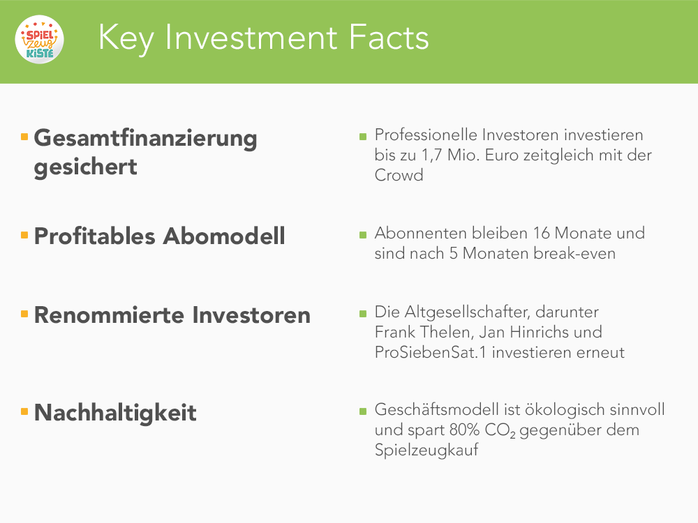 Key Investment Facts MeineSpielzeugkiste
