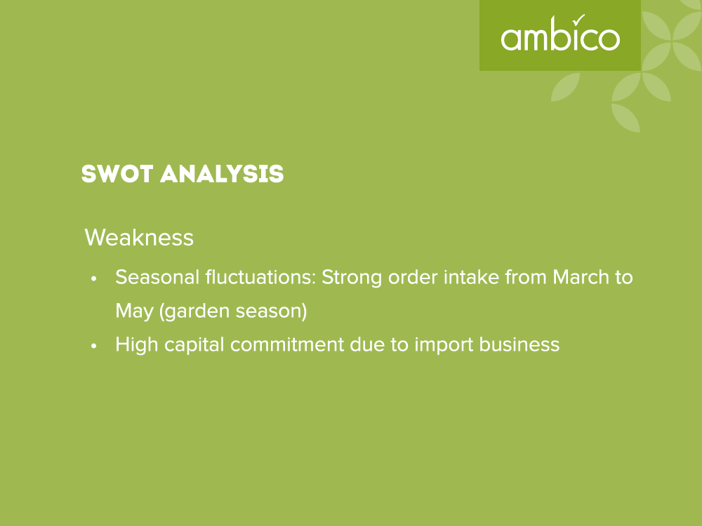 ambico - SWOT Analysis Weaknesses
