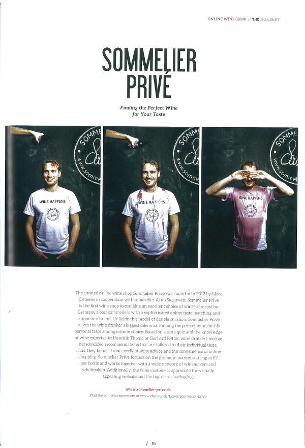 Sommelier Privé Is Presented in the Start-up Magazine The Hundert