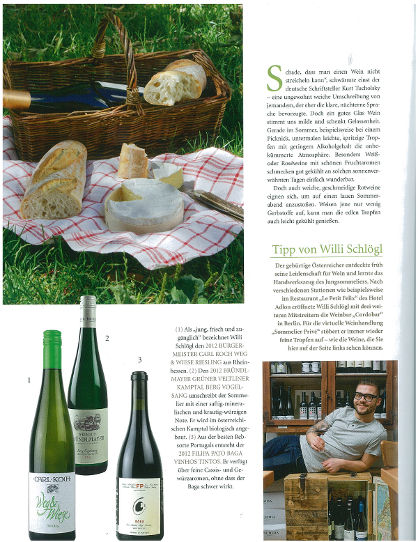 Our Sommelier Willi Schlögl Recommends three Summer Wines in the Current Issue of Domicil