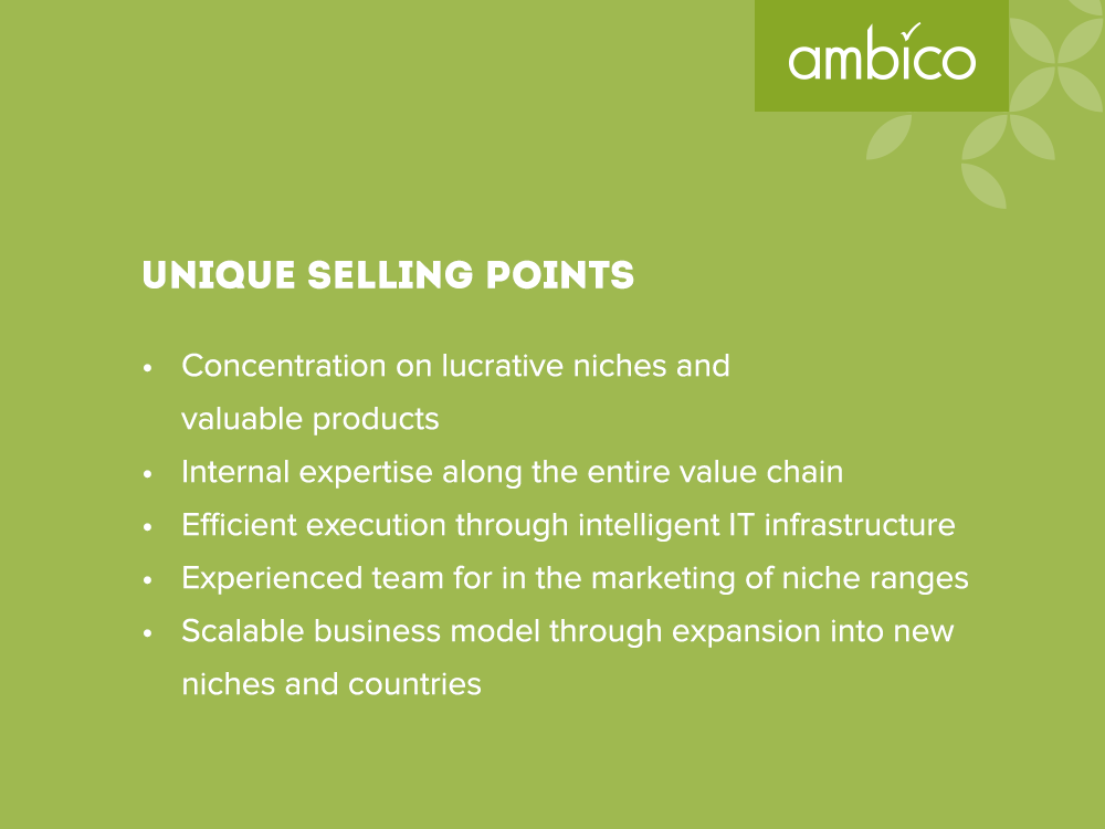 ambico - Unique selling points