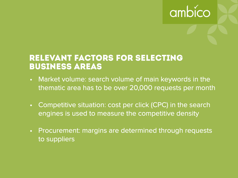 ambico - Relevant factors in the selection of business areas