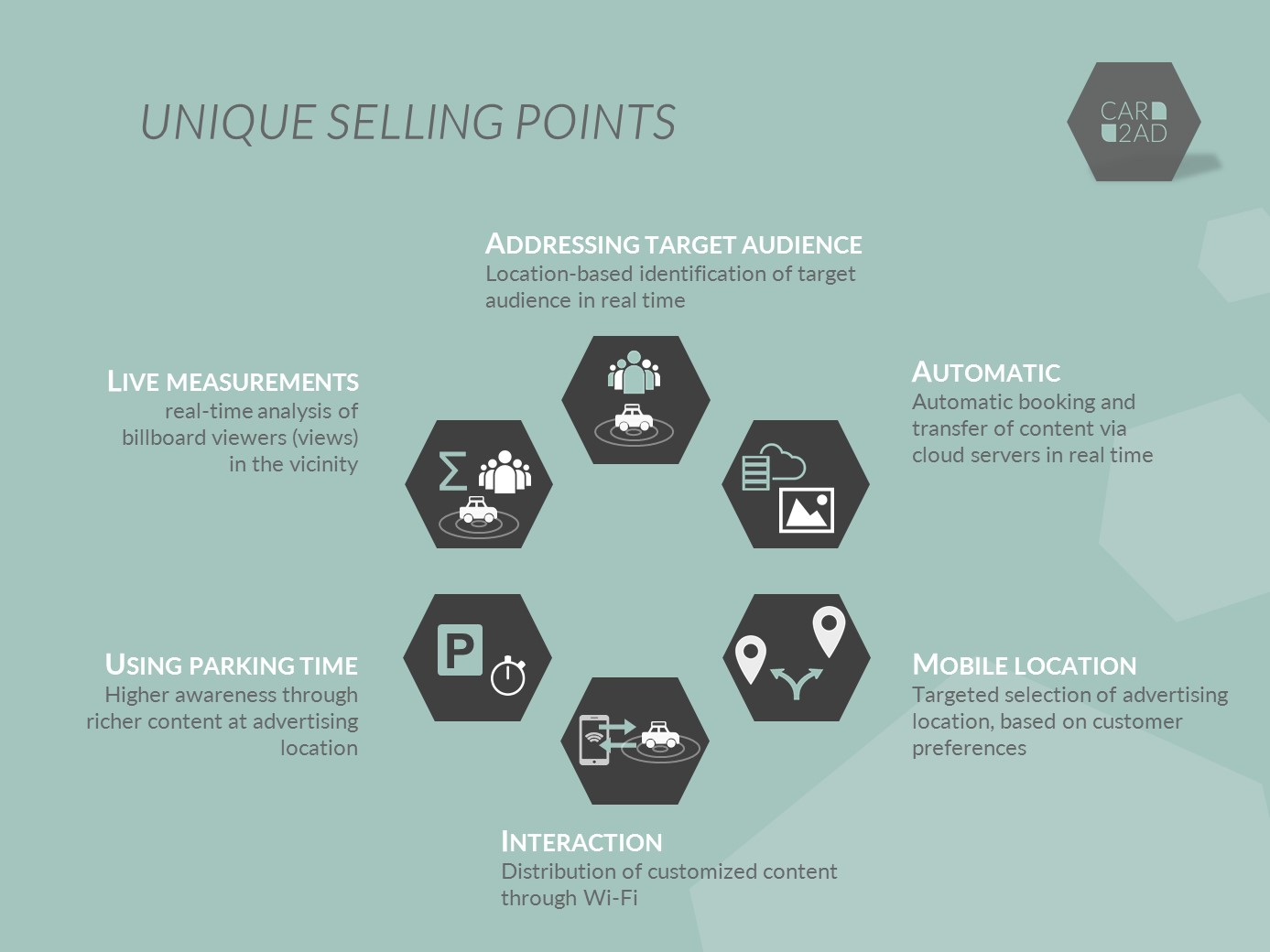CAR2AD - Unique Selling Points