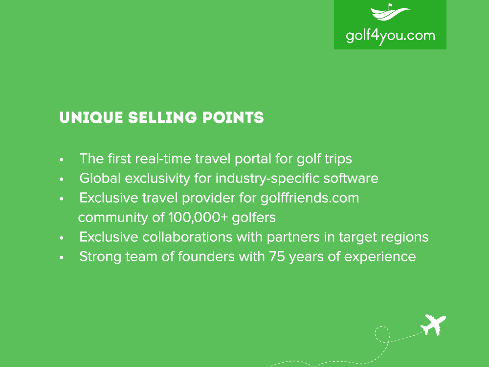 golf4you - Unique selling points
