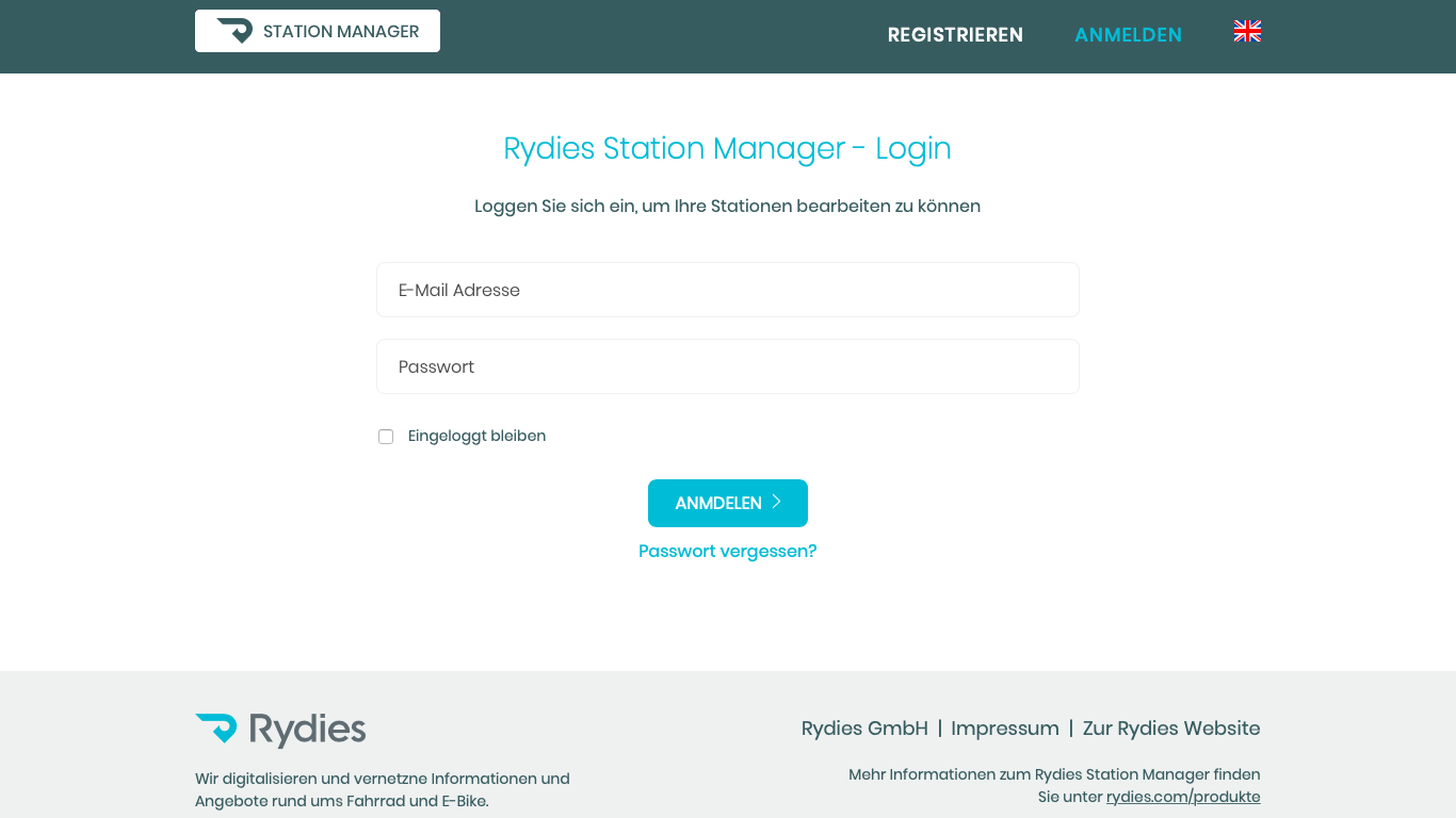 Rydies - Station Manager Login