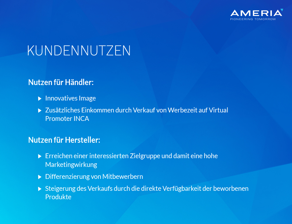 AMERIA - Kundennutzen Virtual Promoter