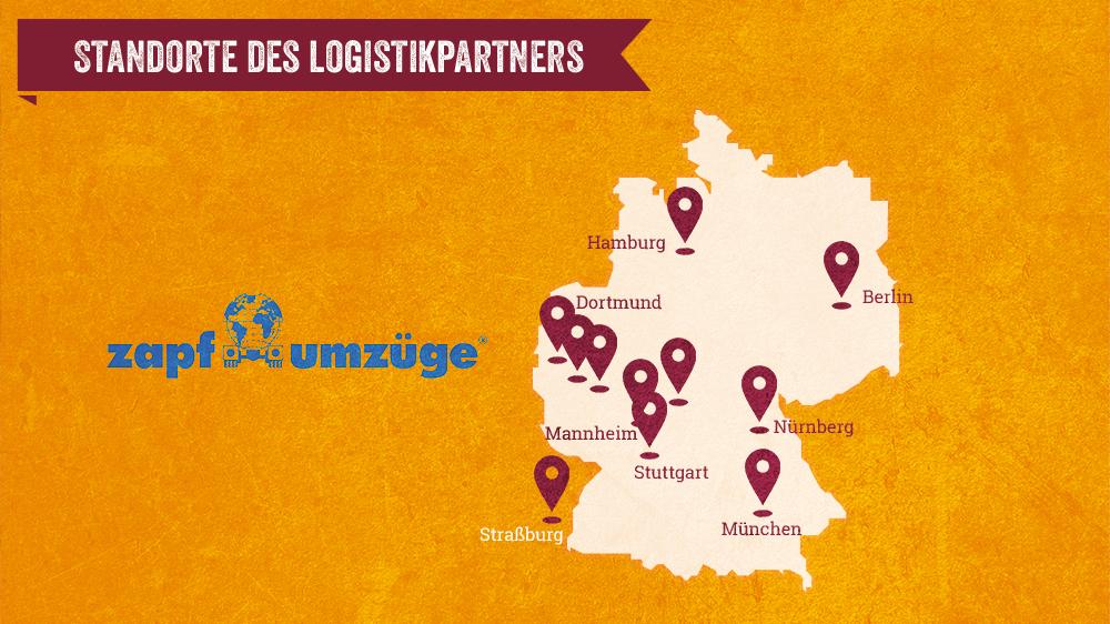 Standorte des Logistikpartners von Bier-Deluxe