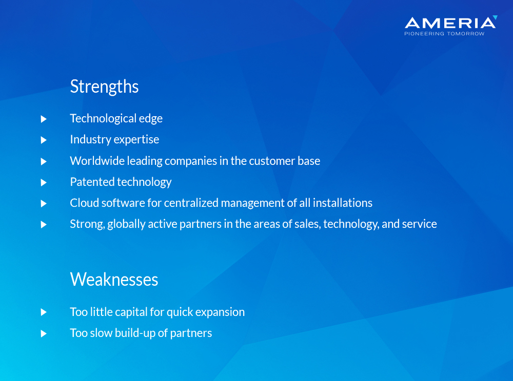 AMERIA - Swot Analysis - Strengths and Weaknesses