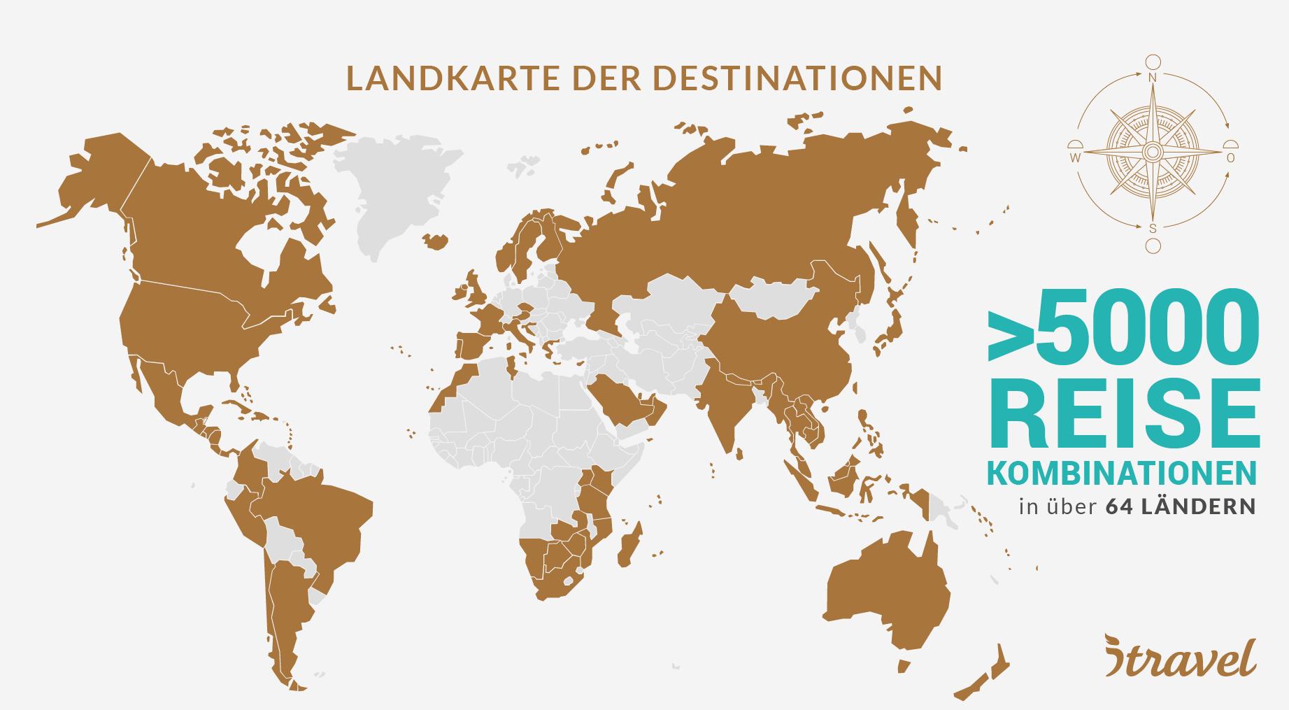 Landkarte der Destinationen