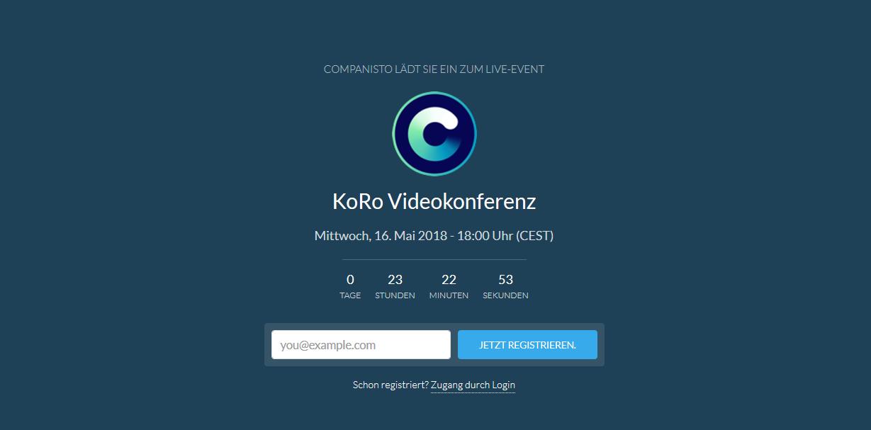 KoRo - Livestorm Registrierungsseite