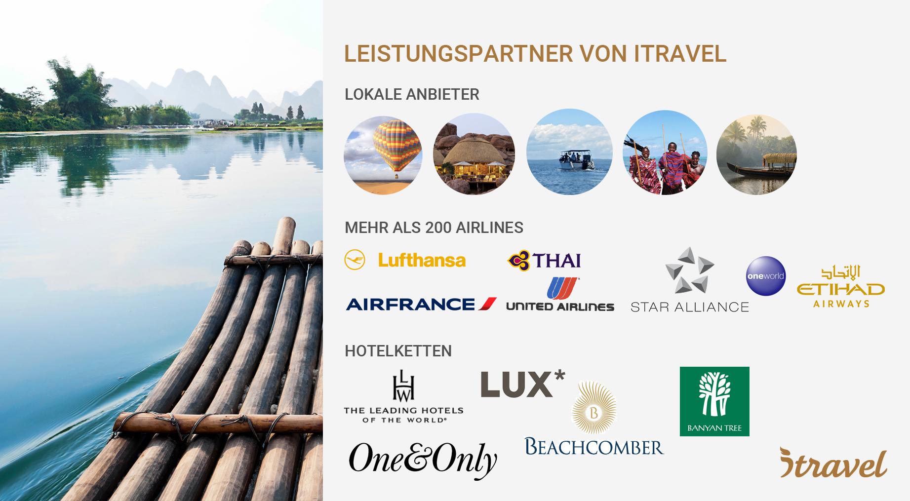 Partner von itravel bei Reiseleistungen