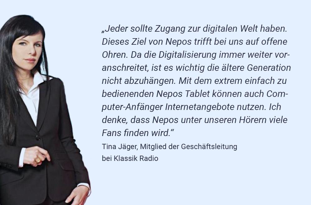 Tina Jäger, Mitglied der Geschäftsführung bei Klassik Radio über Nepos