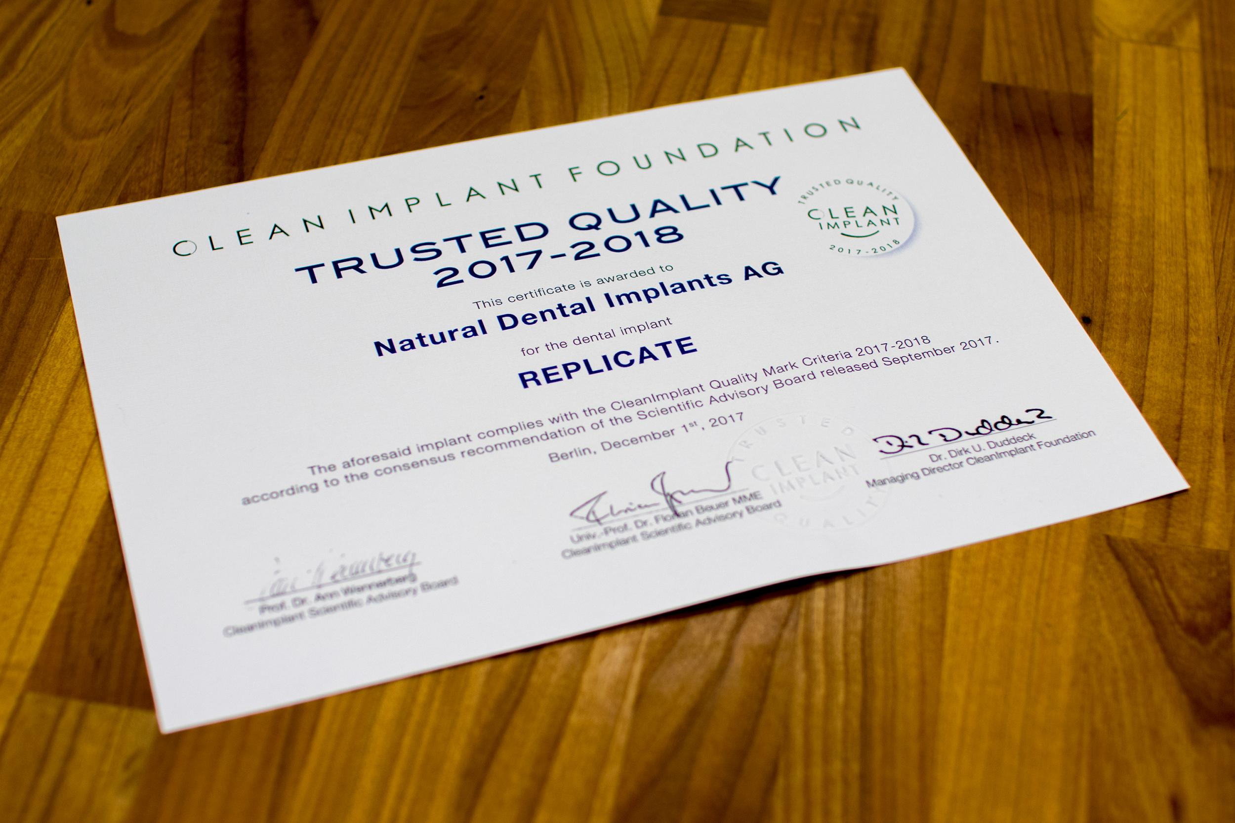 Trusted Quality - Certificate for NDI AG